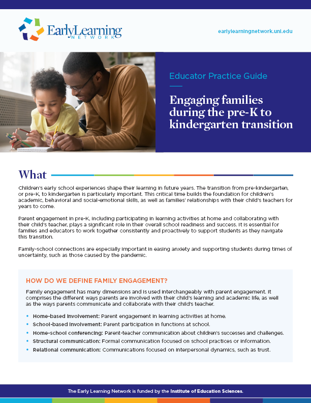 2020 Educator practice guide-Engaging families during the pre-K to kindergarten transition
