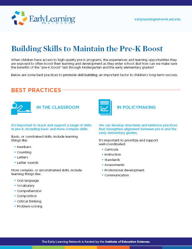 Building Skills to Maintain the Pre-K Boost