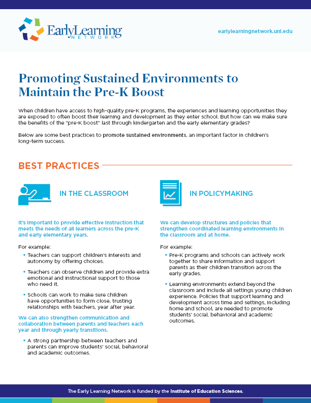 Promoting Sustained Environments to Maintain the Pre-K Boost